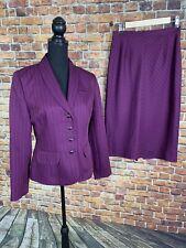 Sag Harbor Plum Purple Two Piece Skirt Suit Size 8 White Stitching Career