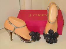 J. Crew Belle Fleur Mirror Silver Slingbacks Peep Toe High Heel Shoes Womens 10
