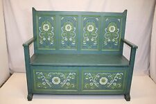 Vintage Hand Painted Carved Entryway Flip Lid Bench with Folk Art Work!