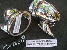 NEW PAIR OF 50`S ~ 60`S CHROME BULLET STYLE DOOR / FENDER RACING MIRRORS !