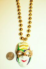 New Orleans Mardi Gras Masquerade Mask Charm Gold Bead Necklace