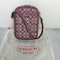 Coach Signature Collection Purple Phone Wallet Clutch Wristlet Card Case EUC