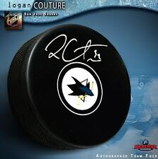 LOGAN COUTURE Signed San Jose Sharks Puck