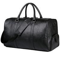 New Fashion Men Soft Leather Black Duffel Bag Large Travel Luggage Handbag