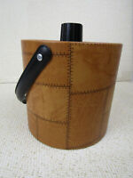 Vintage Irvinware Faux Stitched Leather Patchwork Ice Bucket  MCM  Retro Barware