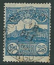1903 SAN MARINO USATO VEDUTA 25 CENT - M5-8