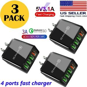 3Pack 4 Port Fast Quick Charge QC 3.0 USB Hub Wall Charger Power Adapter Plug US
