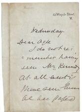Sir Joseph Fayrer- Victorian doctor expert in Indian snake poisons - orig letter