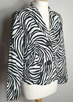 Joseph Ribkoff (UK Size 12) Animal Print Black & White Striped Blazer Jacket