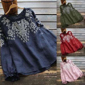ZANZEA Women Autumn Winter Long Sleeve Blouse T Shirt Cotton Tee Embroidered Top