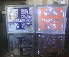 "Personalized 8"" Frosted Glass Block Light, Light Block, Night Light, Home Decor"