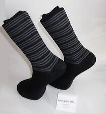Grey stripes and blue lines design socks. Black Socks - Cotton Rich Socks