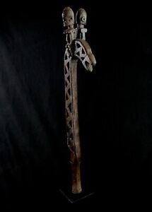 Art Africain Canne Crosse Cérémonielle Bâton de Voleur Dogon sur socle - 84 Cms