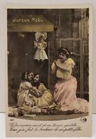 Vintage Christmas Photo Postcard Hand Colored Children Doll Toys A3
