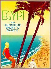 Egypt For Sunshine Sport Gaiety Vintage Egyptian Travel Advertisement Art Poster