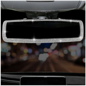 Car Clip-On Rear View Mirror Glittering Crystal Decor Cover Auto Accessories 1Pc