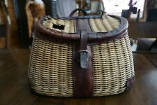 Unmarked whole willow creel, smooth leather, great!