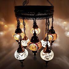Turkish Moroccan Arabian Glass Mosaic Chandelier Lamp Light 8 Bulb - UK SELLER