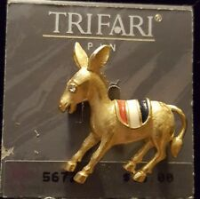 Trifari Donkey Brooch/Pin  w/ Enameled Red, White & Blue  New on Hang Tag