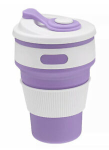 Collapsible coffee cup - 350ml - Purple lilac & White (New)