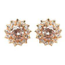 Sterling Silver Gold Plated Champagne CZ Teens Women Men Unisex Earrings 6mm