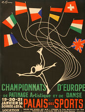 Original Vintage Poster Champoinnats D'Europe de Patinage Ice Skating 1950s