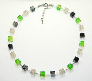 Halskette Kette Würfelkette Würfel Glas crash bernstein grün schwarz weiß  335g
