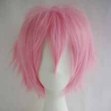 Women Mens Anime Short Hair Wig Straight Cosplay Wig Party Costume Black White &