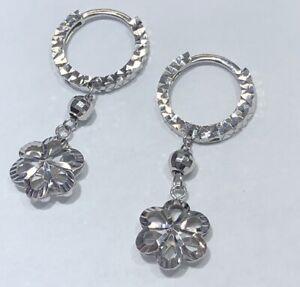 18K White Gold Drop / Dangle Flower Hoop Round Earrings - Diamond Cut Women Girl