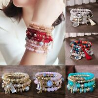 4Pcs Boho Multilayer Natural Stone Crystal Bangle Beaded Bracelet Jewelry Set
