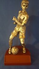 """Silver Tone 9"""" Tall Male Soccer Player - Resin Statue Trophy 1.9 Pounds"""