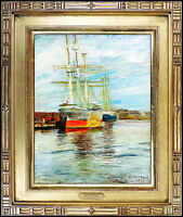 A.T. HIBBARD Original Painting Oil on Board Authentic Signed Harbor Art Aldro