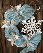 Blue Silver And White Winter Snowflake Wreath