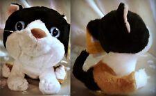 "Nwt Brand Big Stuffed Kitty Cat - 5.25"" Tall - Black, Brown & White"