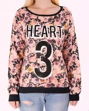 Ladies Sweater Top Jumper Rose Print Heart Printed New Womens Cotton Blend Store