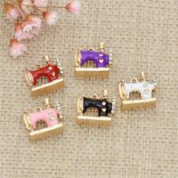 Enamel Sewing Machine Oil Drop Pentand Women Mini Charms Cute Crafts Necklace