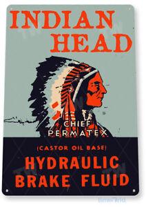 Indian Head Hydraulic Fluid Sign, Oil, Gas, Garage, Auto Shop, Tin Sign B887