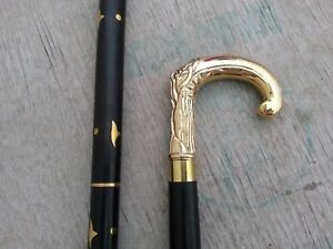 Vintage Brass Handle Victorian Designer Shaft Canes Wooden Antique Walking Stick