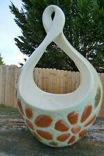 Vtg Hanging Flower Pot Ceramic Retro 70's Floral Planter Beige/Orange/Green