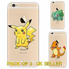 3x GIFT PACK Gel Pokemon Case/Cover  Apple iPhone 5 5s 5C SE 6 6s 7 Plus