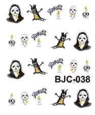 Nail art stickers décalcomanie: Déco Halloween masques troncs d'arbre bougies