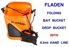FLADEN FOLDING BAIT BUCKET+DROP HAND LINE FOR LIVE LUG WORM RAG WORM CRAB MIXING