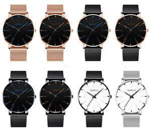 Men's Watch Ultra-Thin Stainless Steel Men Business Mesh Belt Quartz Wristwatch