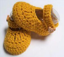 Tan/brown/bear Mary Jane  newborn reborn baby booties/shoe 0000 7.5cm