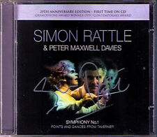 Simon RATTLE Signiert PETER MAXWELL DAVIS Symphony 1 Points & Dances Taverner CD