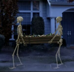 Way to Celebrate Halloween Skeleton Duo Carrying Coffin 5' Fast Shipping!!