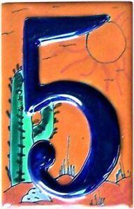 Mexican Talavera Desert Tile Address House Number Five