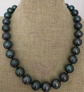 9-10mm Round Black Pearl Necklace Silver Clasp 19inch Diy Chic Women AAAA