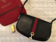 Vintage Authentic GUCCI Black Leather Green Red Web Horsebit Shoulder Hand Bag