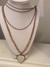 Lucky Brand Multi Strand Gold  Tone Chain White Tear Drop  Necklace $34. #196 (3
